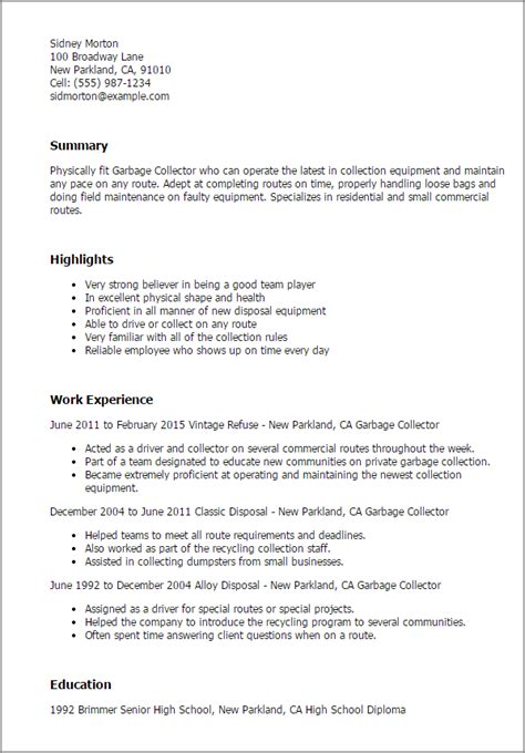 Collector Resume by Professional Garbage Collector Templates To Showcase Your Talent Myperfectresume