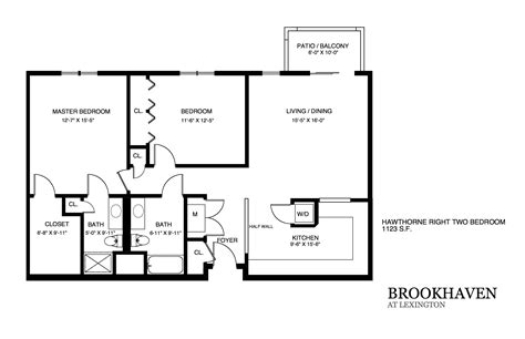 one bedroom house plans brookhaven apartment floor plans 16556 | Hawthorne right two bedroom
