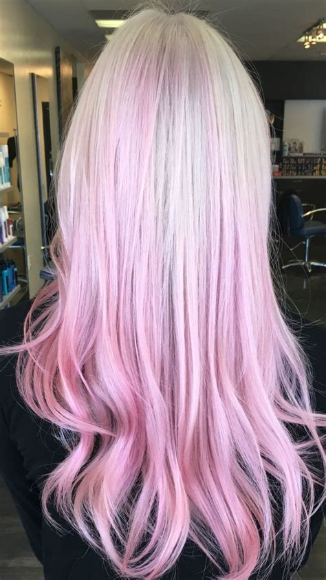 Patel Pink Balayage Ombre On Platinum Blonde Hair Used