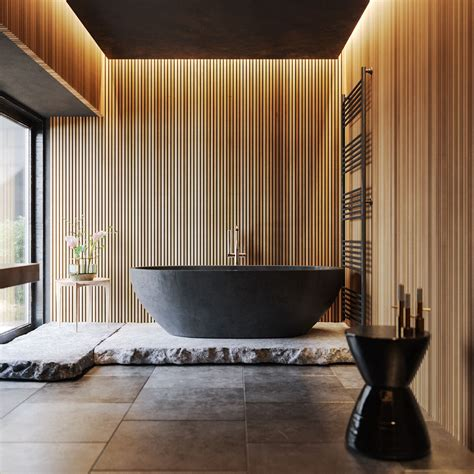 wood  black bathroom  behance bathroom design