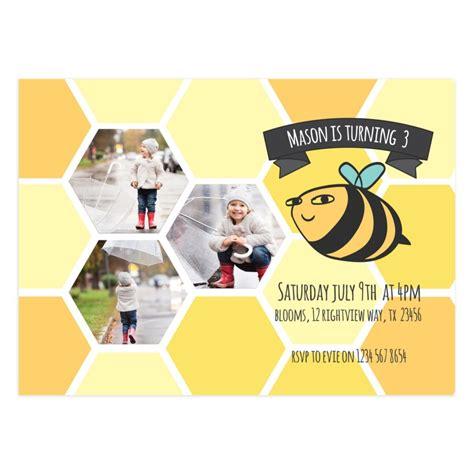 printable bee birthday party invitation card  mockaroon