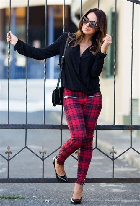 red black plaid pants  black jacket  pumps