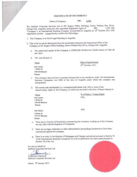 Certification Of Trust Document
