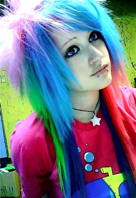 Rainbow Hair Dark Eye Make Up Black Snake Bites Emo