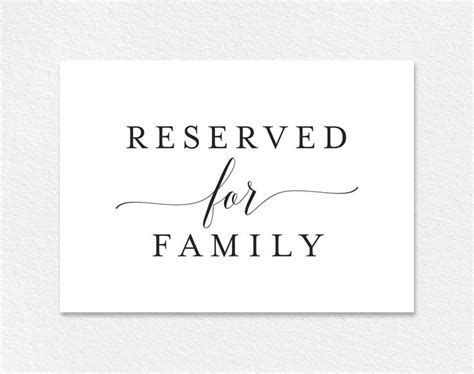 Reserved Cards For Tables Templates