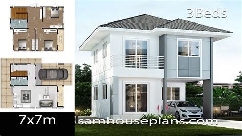 House Plans Idea 7x7 with 3 Bedrooms SamHousePlans