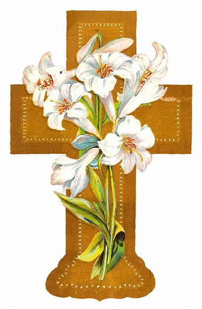 Cross Easter Clipart Gold Flowers Cliparts Roses