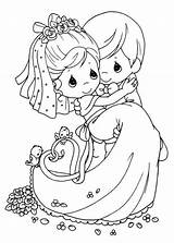 Coloring Pages Groom Bride Romantic Precious Moments Moment Kaynak Coloringpagesfortoddlers Boyama sketch template