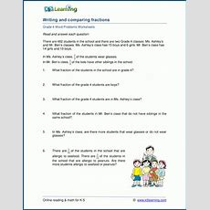Grade 4 Writing And Comparing Fractions Word Problem Worksheets  K5 Learning