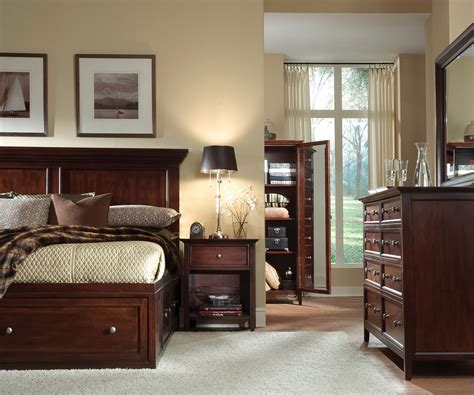 cherry bedroom sets ellsworth 4 piece king storage bedroom set cherry 11072 | 469452