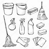 Cleaning Supplies Tools Drawing Office Clean Clip Doodle Vector Coloring Household Illustration Icon Outline Spring Google Doodles Supply Icons Pages sketch template