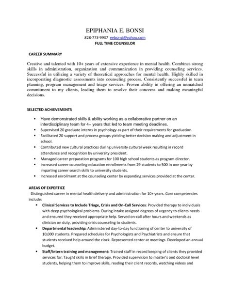 Mental Health Counselor Resume Summary by Mental Health Counselor Resume Objective Resume Template