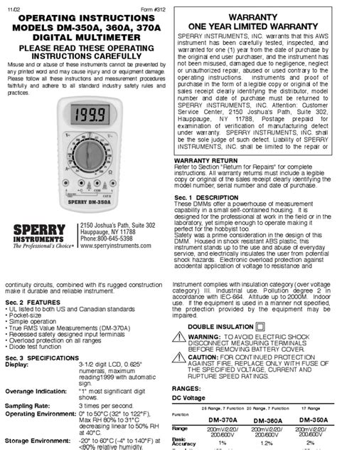 Sperry Dm-350a Test Meter Manual | Root Mean Square