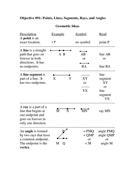 Geometry Points Lines Planes Worksheet  Objective Points Lines Segments Rays And Angles Math