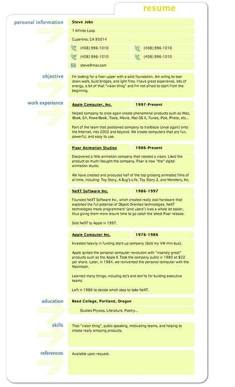 Resume Tip Tuesday Lessons From Steve Jobs' Resume. Resume Professional Statement Examples. Bsc Computer Science Resume Format. Scholarship Resume Template. Server Administrator Resume Format. How To Describe Babysitting On A Resume. Very Good Resume Format. Objective For College Resume. What Is A Resume Summary
