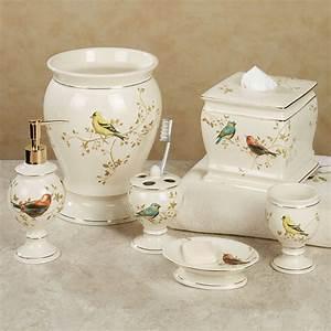 Gilded bird ceramic bath accessories for Beekman home bathroom accessories