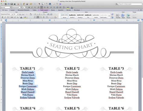 seating chart template word diy table numbers seating chart the budget savvy