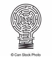 light bulb maze illustration of a complex maze of ideas With light bulb shape electric wire line diagram business infographic