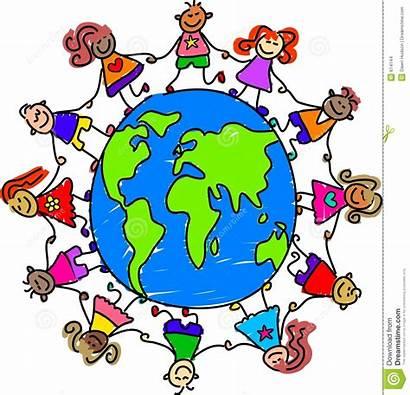 Clip Clipart Around Children Map Globe Hands