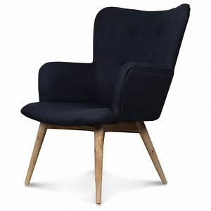 Fauteuil Jardin Bois : fauteuil design style scandinave pieds bois tissu gris anthracite nork demeure et jardin ~ Teatrodelosmanantiales.com Idées de Décoration