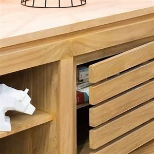 Meuble Salon Bois : meuble tv teck meuble tv bois naturel rectangle zen 140 cm ~ Teatrodelosmanantiales.com Idées de Décoration