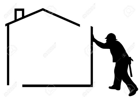 home construction clipart black and white house silhouette clipart 80