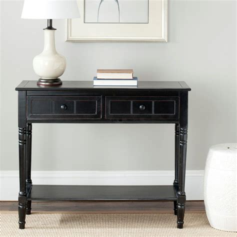 distressed black console table safavieh samantha distressed black storage console table