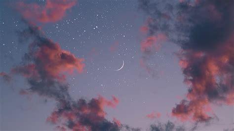 wallpaper nature stars sky clouds moon