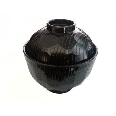 lacquer miso soup bowl with lid classic style a