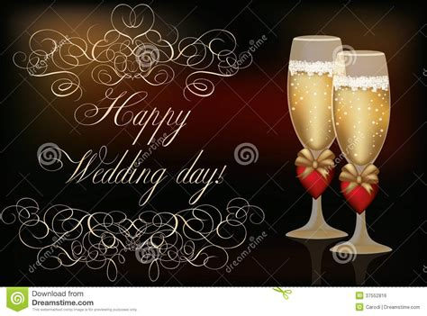 happy wedding day invitation card stock vector