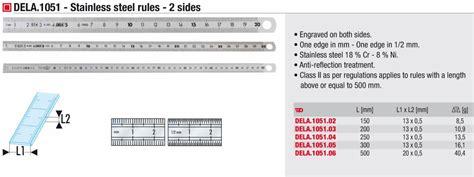 stainless steel  sided ruler mm mm scaledela