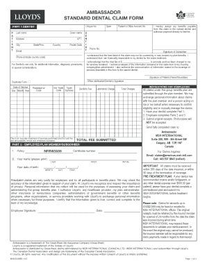 Fillable Online AMBASSADOR STANDARD DENTAL CLAIM FORM