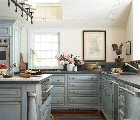 blue kitchen decor ideas shabby chic kitchen cabinets with blue color ideas home