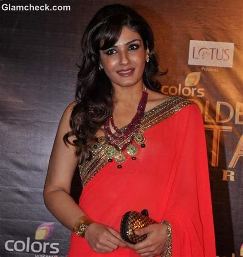 raveena tandon  coral saree   colors golden petal