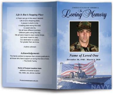 navy funeral program template diy funeral programs