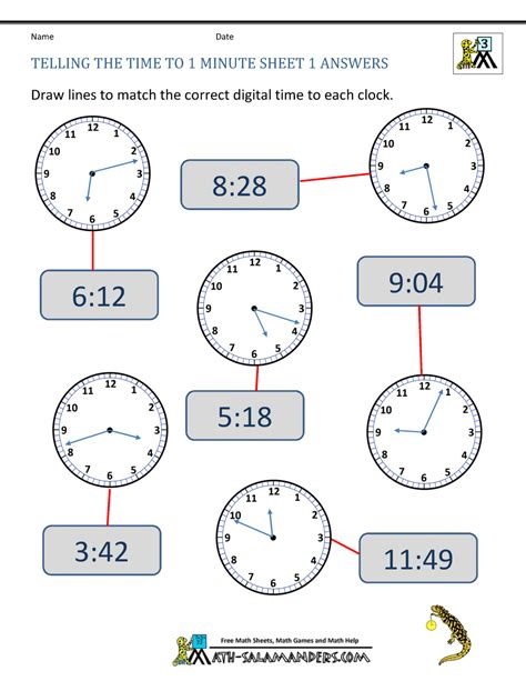 telling  time   minute sheet  answers