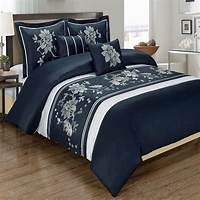 100 cotton duvet covers Myra Navy 5 Piece Duvet Cover Set Embroidered 100 Cotton ...