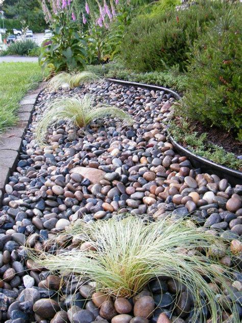 landscaping rock river rocks modern flower beds yard front around diy side simple plants mulch bakersfield