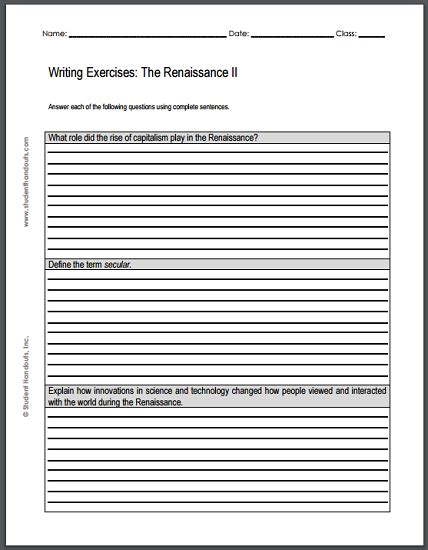 renaissance writing exercises sheet 2 free to print pdf file teaching social studies