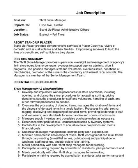 sle store manager description 10 exles in pdf