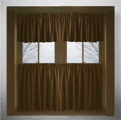 solid brown cotton kitchen tier cafe curtains