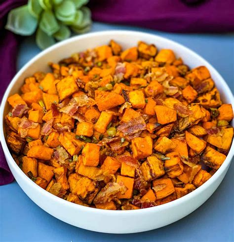 air fryer sweet potato hash potatoes fried recipe breakfast cooked bacon quick