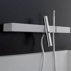 mitigeur bain douche blok sur tablette flexible et With robinetterie murale salle de bain