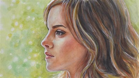 Painting Emma Watson Watercolor Youtube