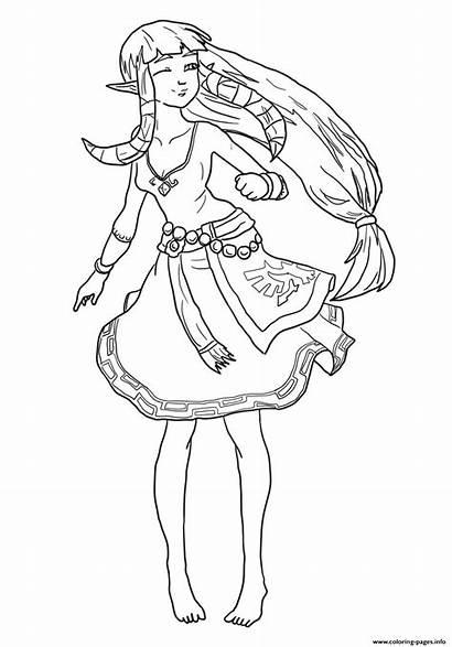 Zelda Coloring Pages Legend Carefree Printable Princess