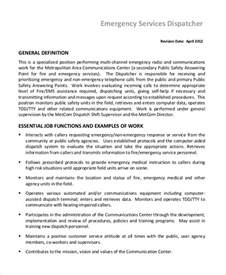 sle dispatcher description 10 exles in word pdf