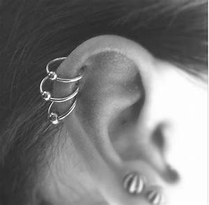 Triple Helix piercing with Captive Bead Rings done at ...