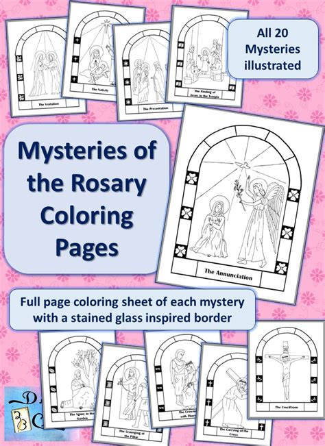 mysteries   rosary coloring pages drawnbcreative
