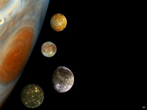 JUPITER AND FOUR OF HER MOONS, CALLISTO, EUROPA, GANYMEDE ...