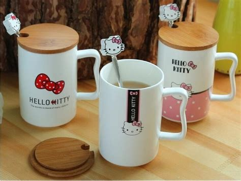 Brand new shipping registered airmail (fully insured with tracking. Aliexpress.com : Buy Kawaii Cartoon 440ML Hello Kitty Ceramic Coffee Mug Cup With Wood Lid And ...